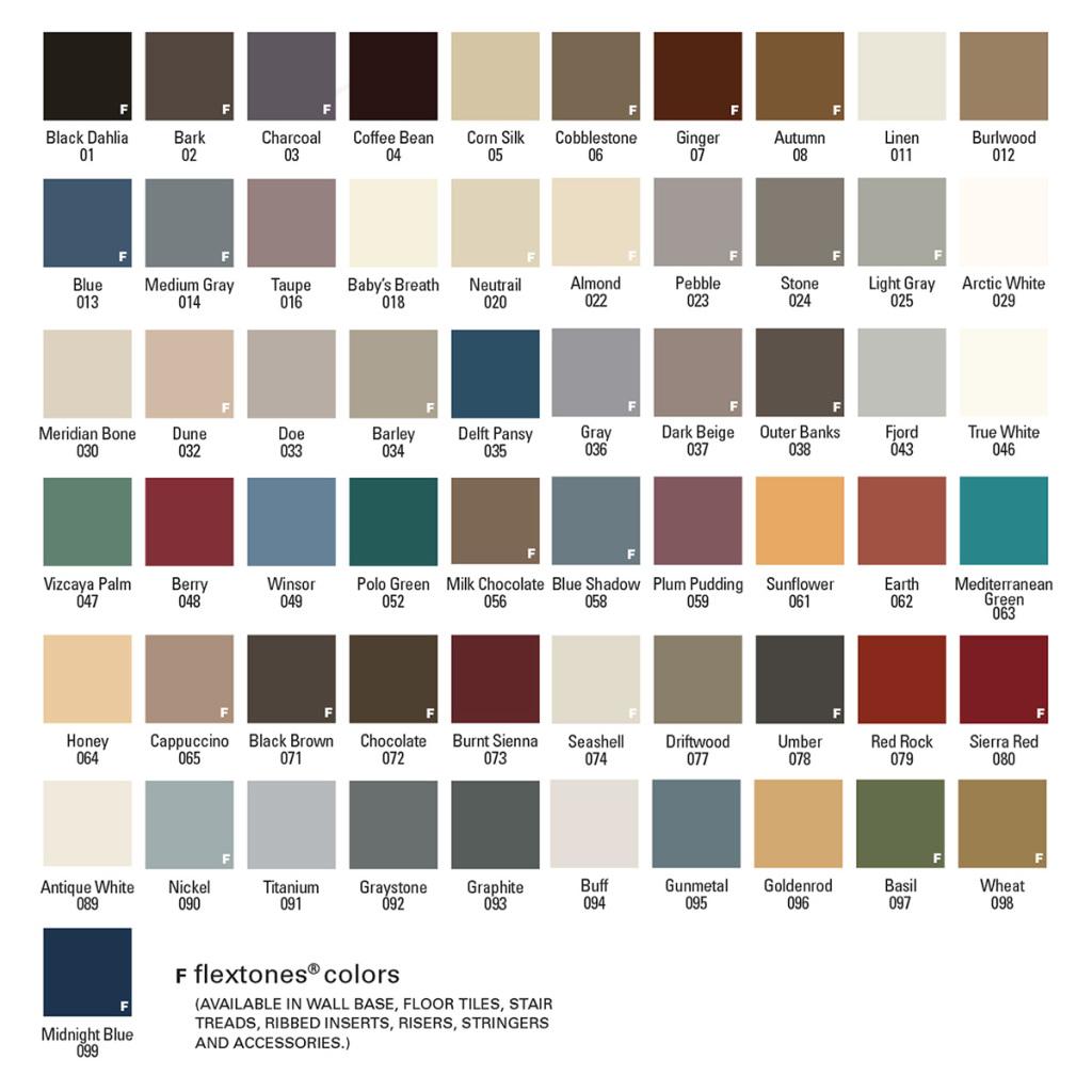 Flexco wall base color chart